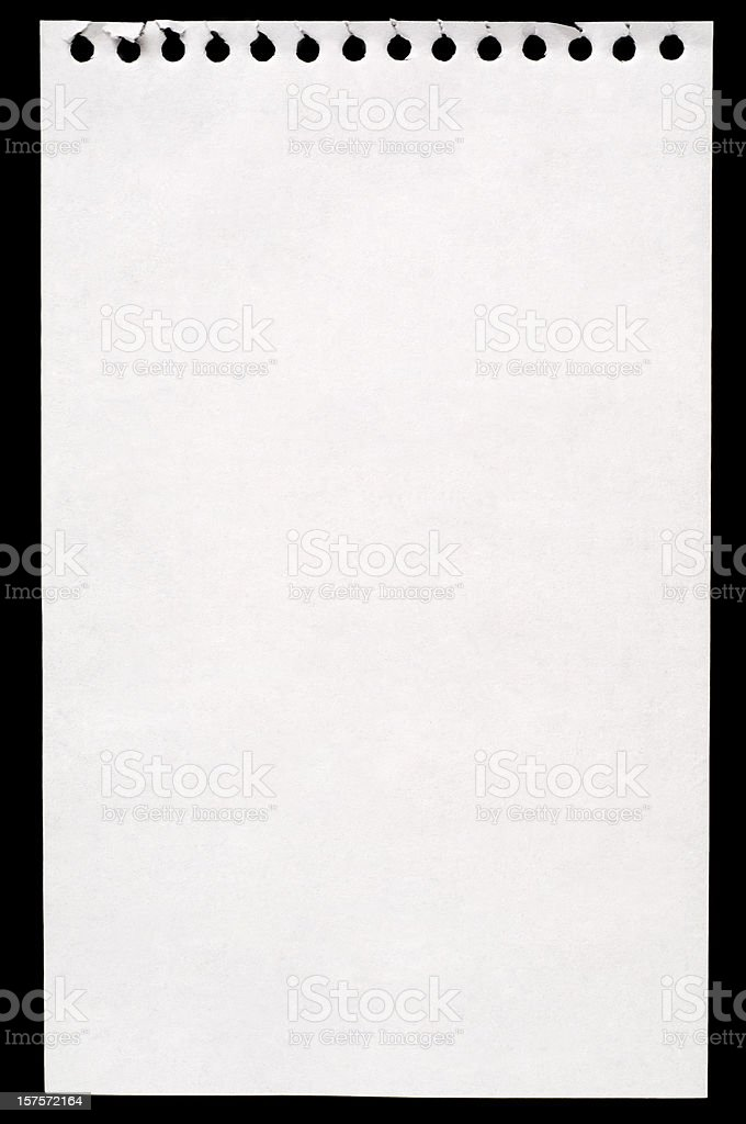 Sheet of white note paper isolated on black royalty-free stock photo