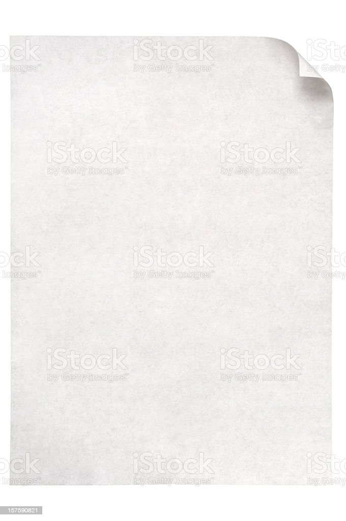 Sheet of white note paper isolated royalty-free stock photo