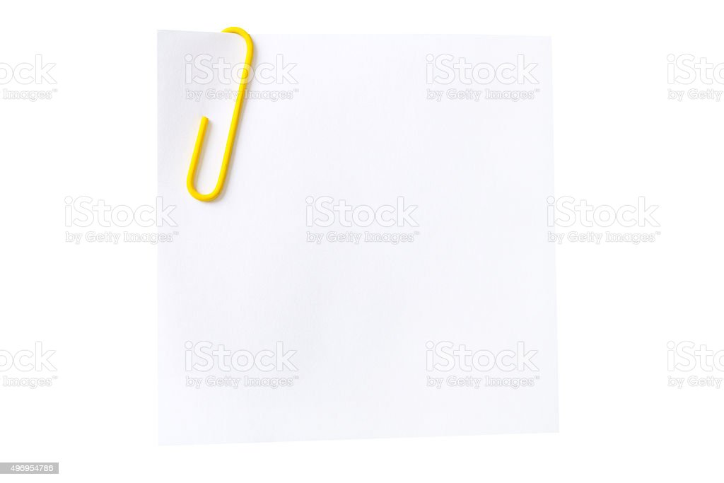 sheet of with a yellow paper clip stock photo