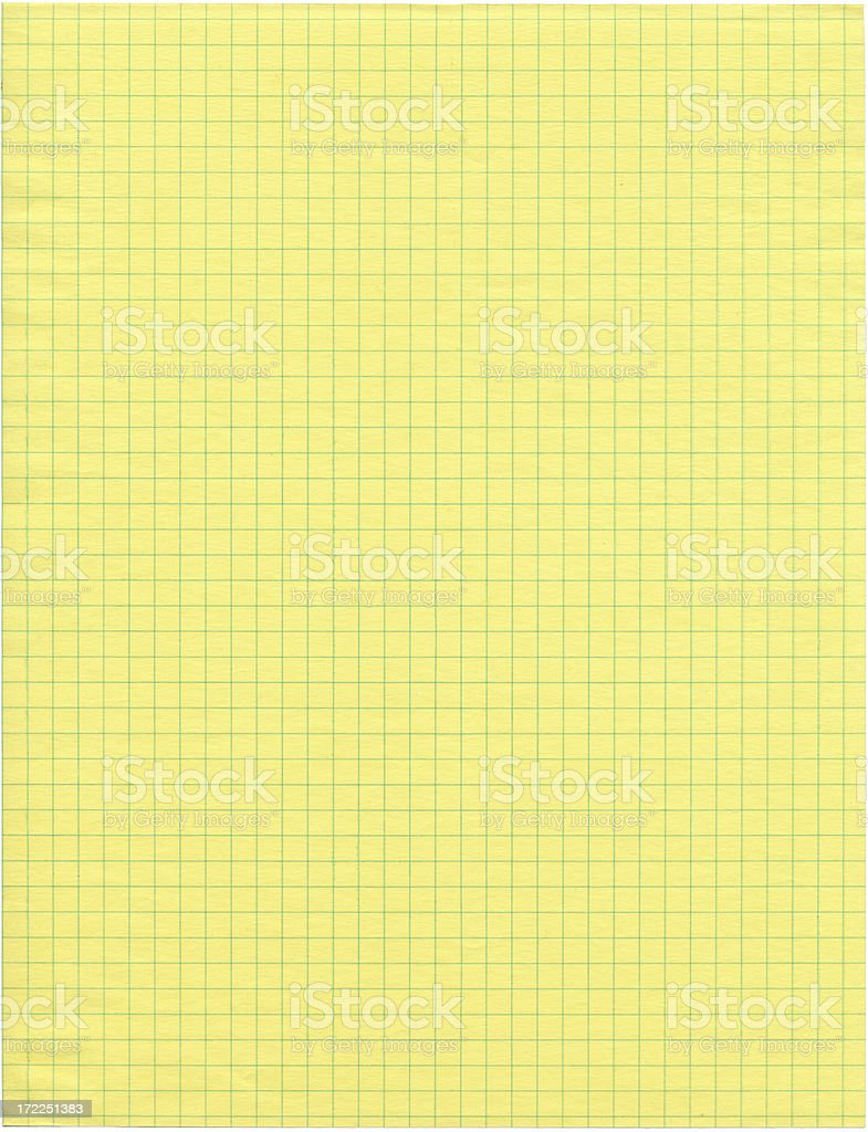 Sheet of Yellow Graph Paper royalty-free stock photo