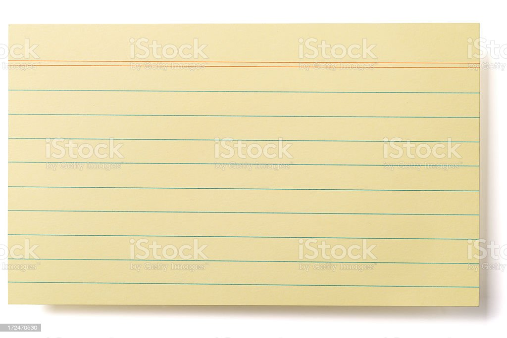 Sheet of yellow lined index card stock photo