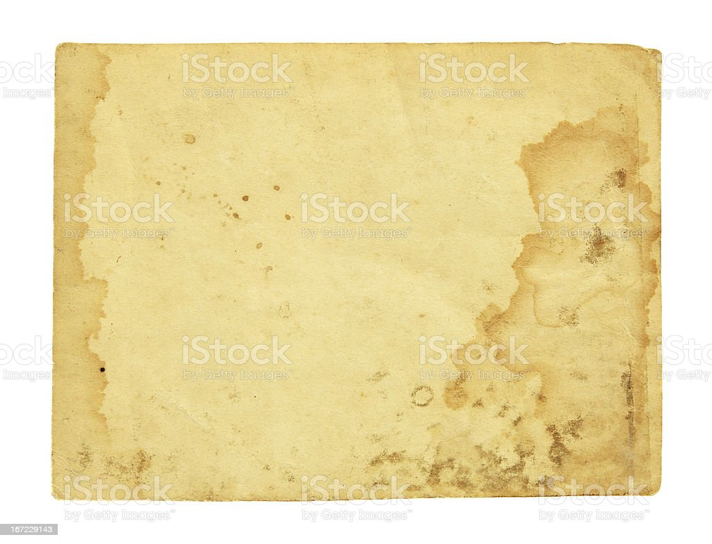 A sheet of yellow paper that appears to be water damaged stock photo