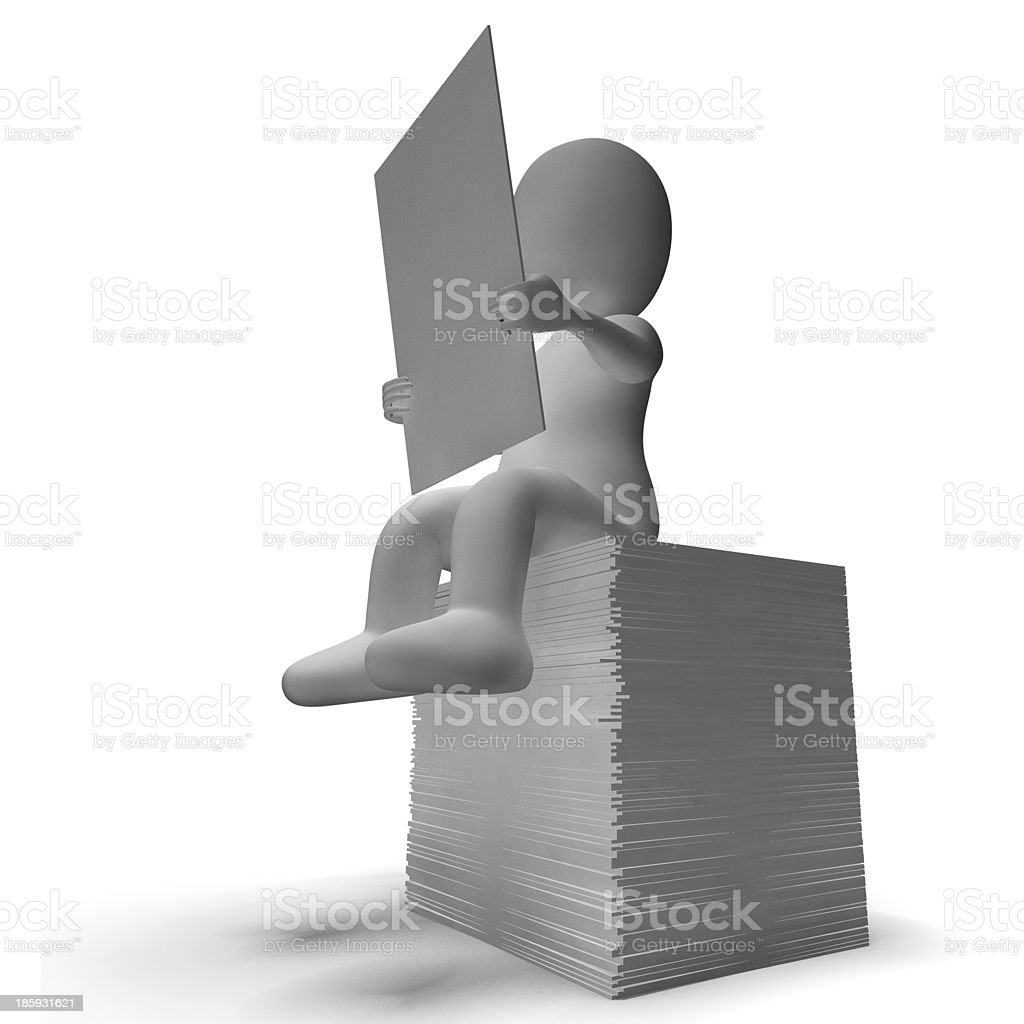 Sheet Or Notice Being Read By 3d Character royalty-free stock photo