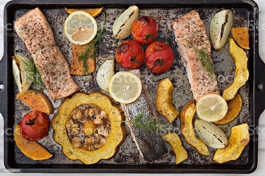 Sheet Pan Baked Salmon Dinner stock photo
