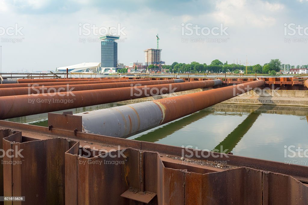 sheet piling cofferdam  construction behind Amsterdam central station stock photo