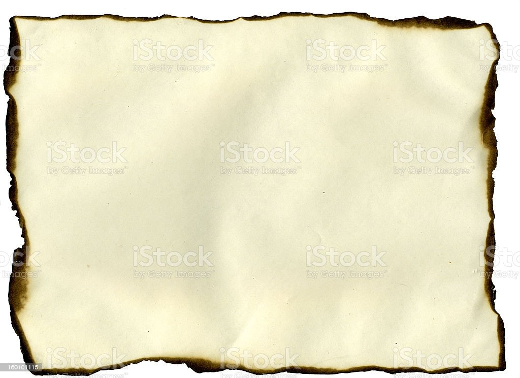 Sheet with burned edges stock photo