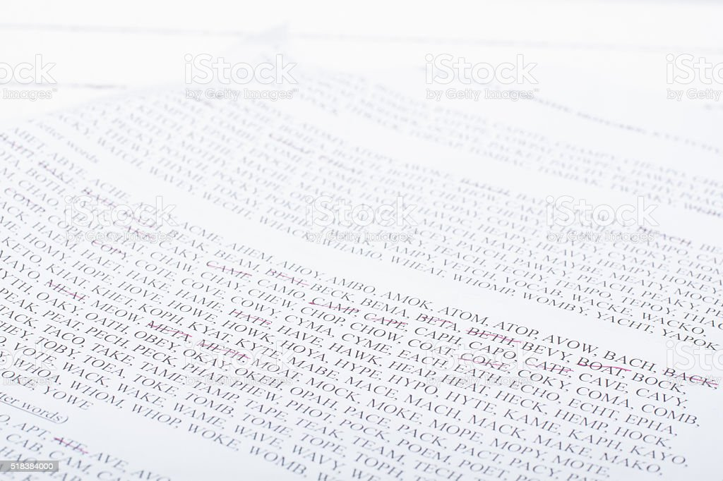 Sheet with words from entertaining game, sorted by number of stock photo