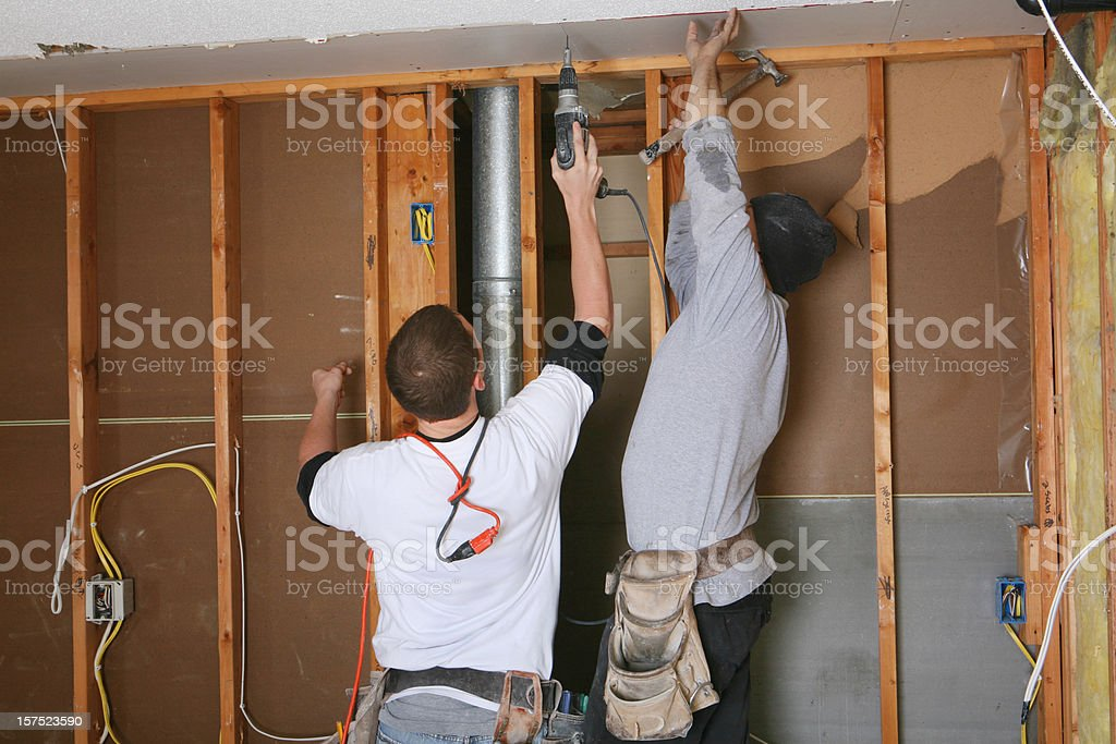Sheetrock Hangers royalty-free stock photo