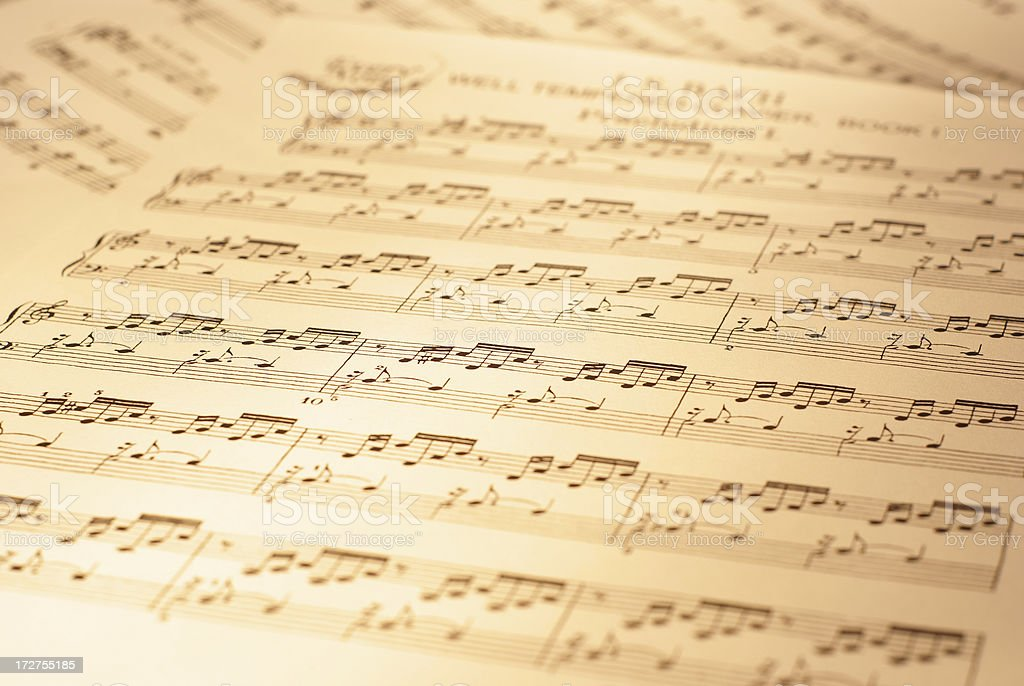 Sheets of musical notes royalty-free stock photo