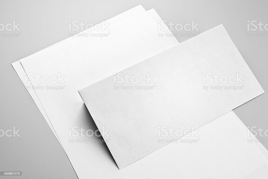 Sheets of paper and envelope stock photo