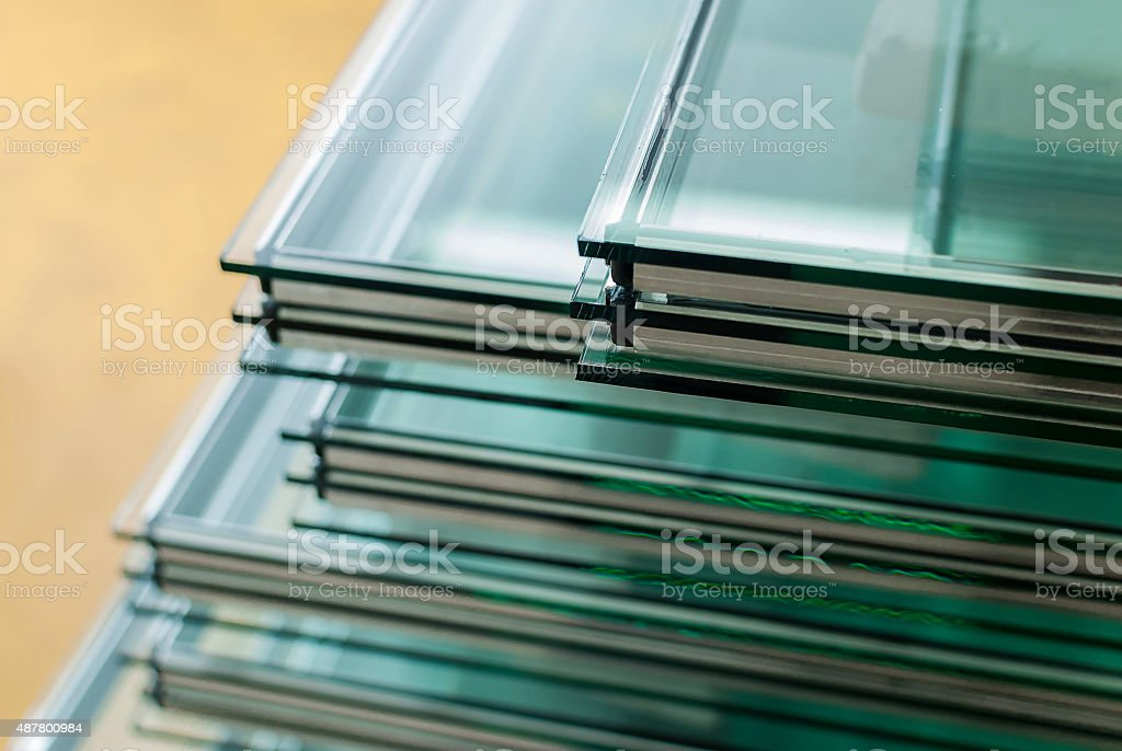 Sheets of Tempered Window Glass stock photo