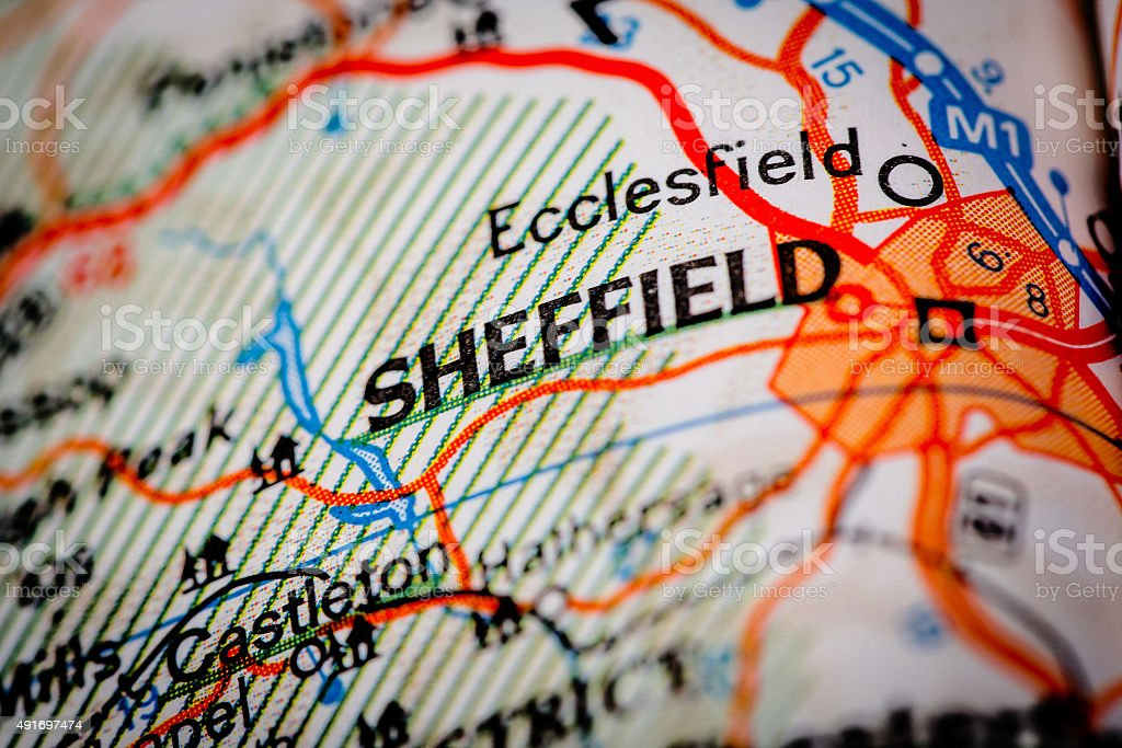 Sheffield City on a Road Map stock photo