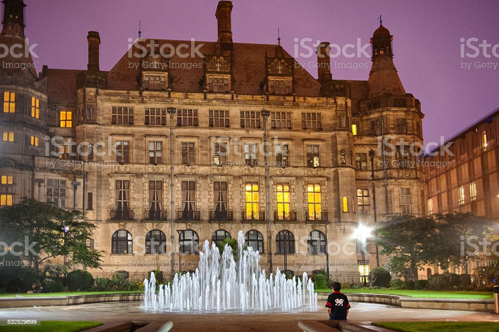 Sheffield Town Hall at night stock photo