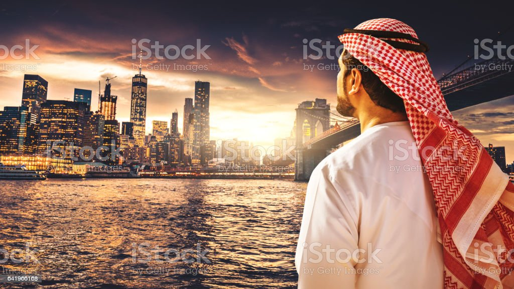 sheik doing business in new york city stock photo