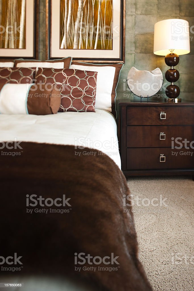 Sheik master bedroom in modern home. royalty-free stock photo