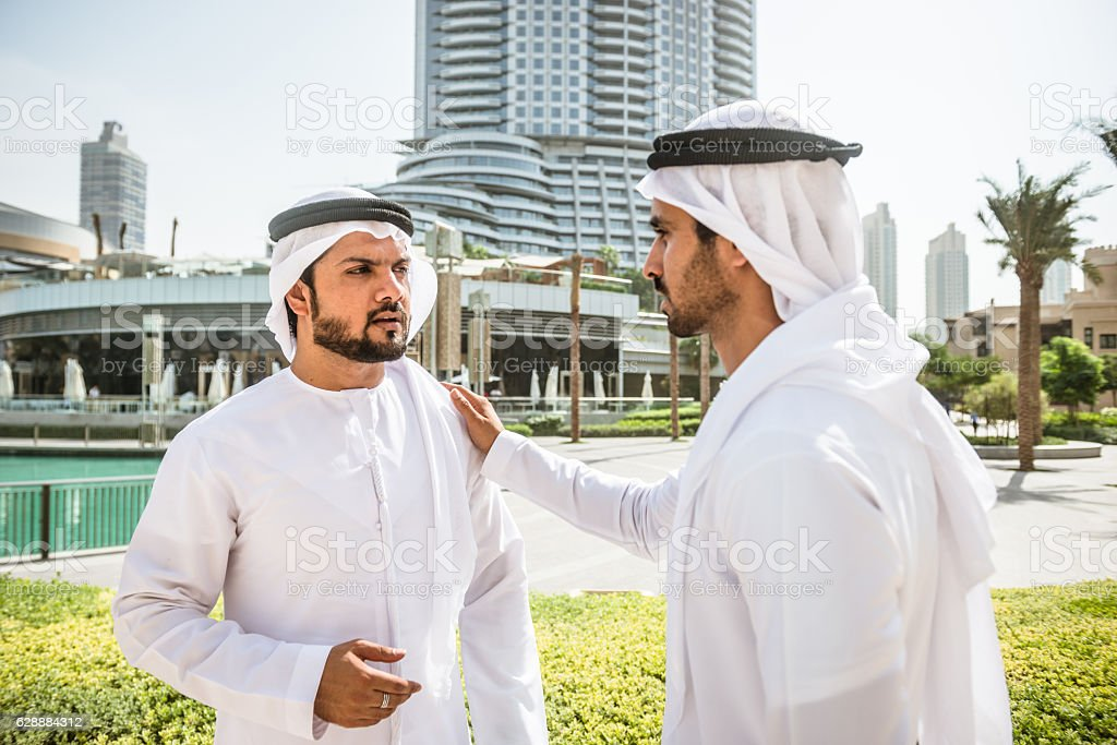 sheikh talking together in Dubai stock photo