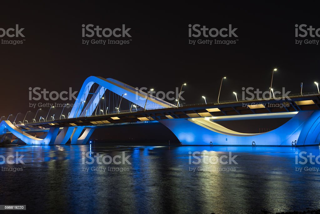 Sheikh Zayed Bridge at night, Abu Dhabi, UAE stock photo