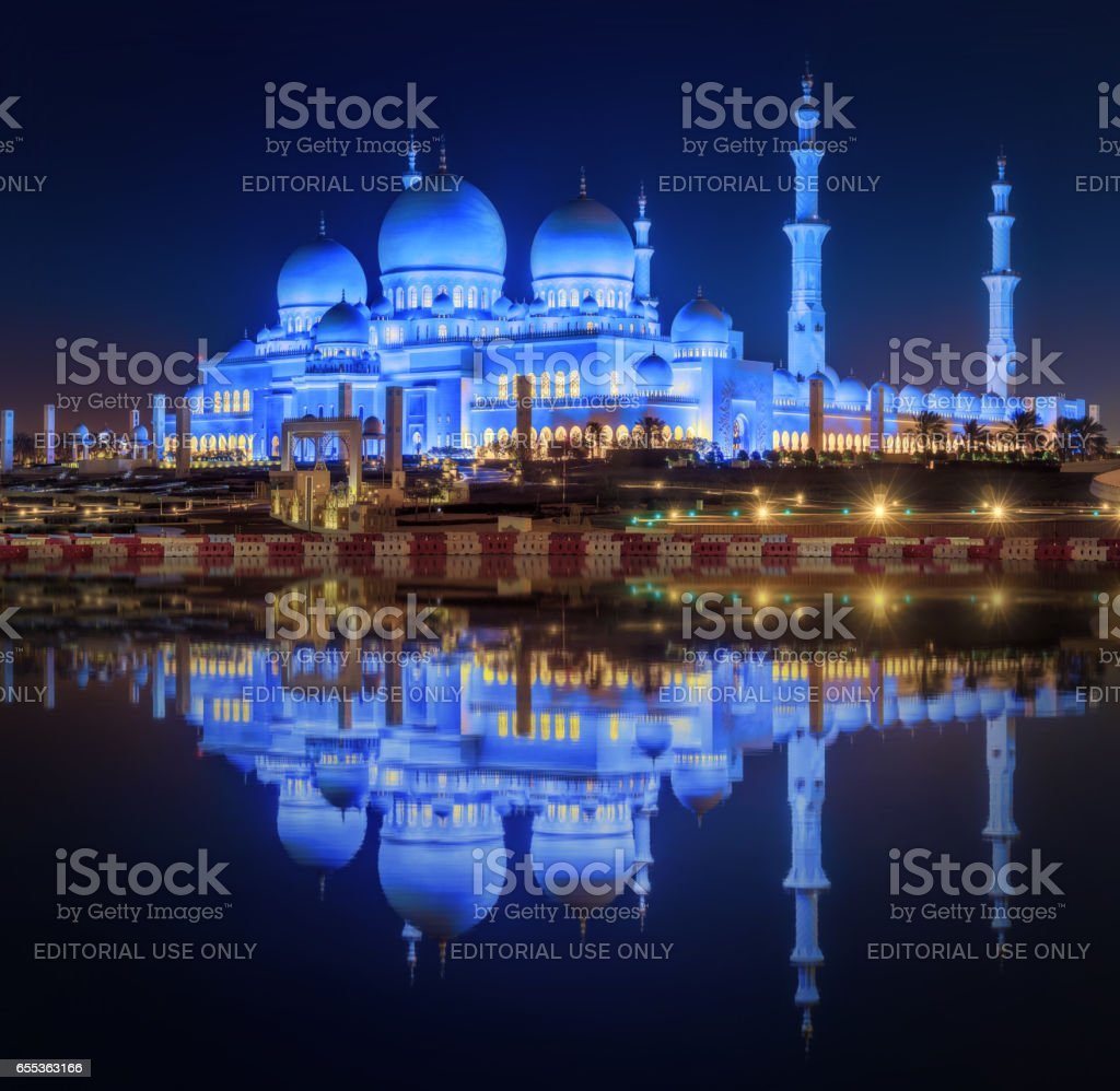 Abu Dhabi, UAE - March 31, 2016: Sheikh Zayed Grand Mosque in Abu Dhabi, capital of United Arab Emirates, architecture of Sheikh Zayed stock photo