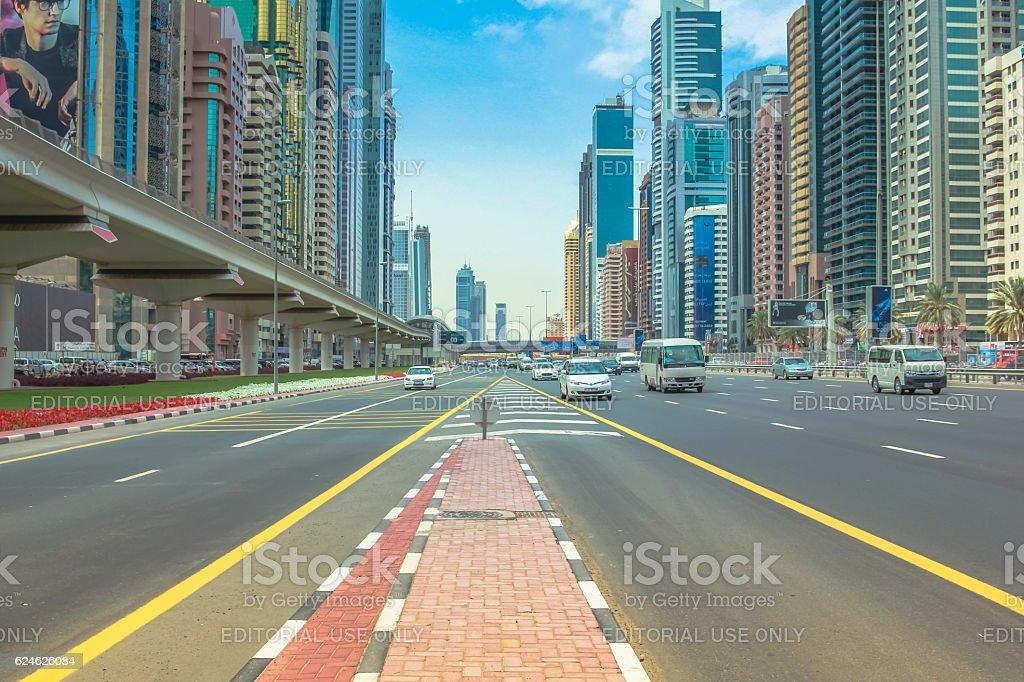 Sheikh Zayed Road Dubai stock photo
