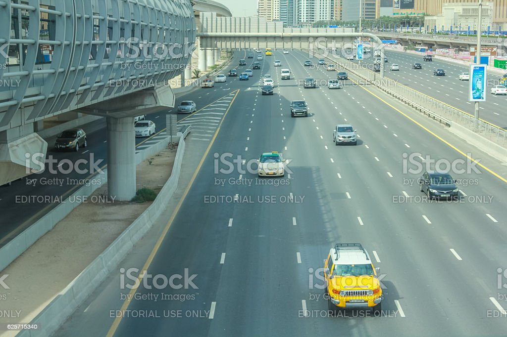 Sheikh Zayed Road Dubai stock photo