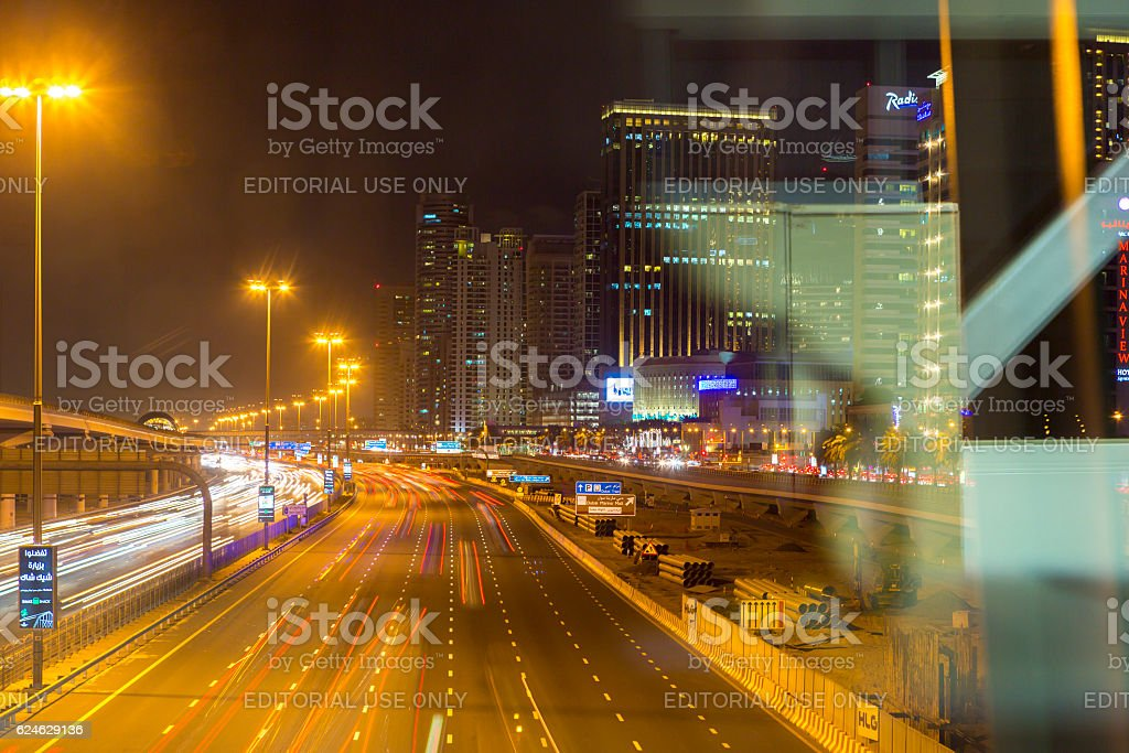 Sheikh Zayed Road in Dubai at night stock photo
