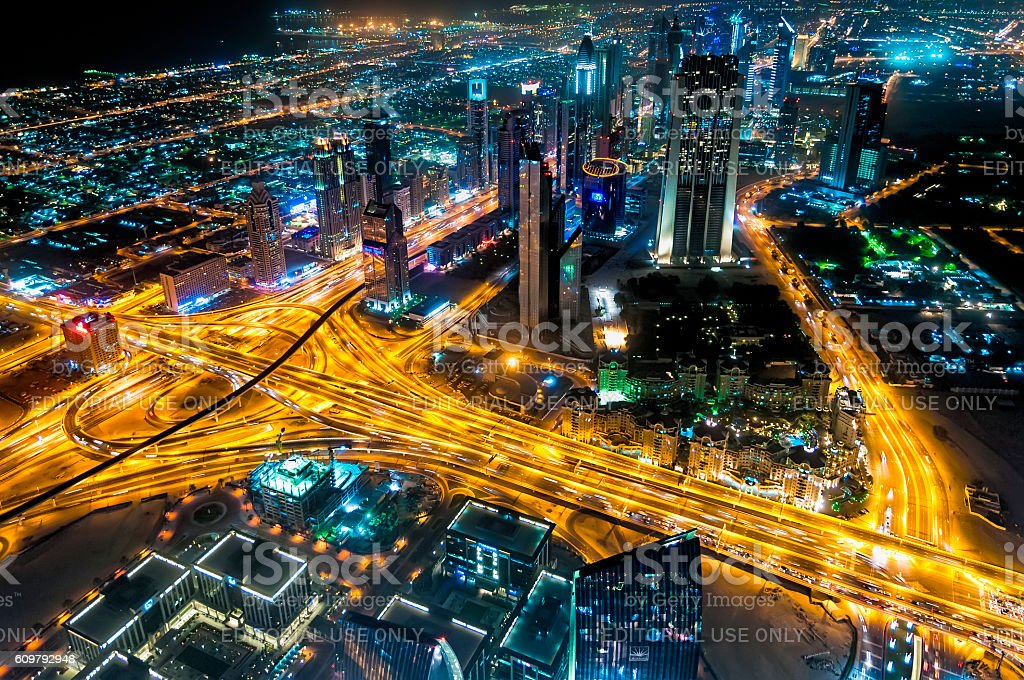 Sheikh Zayed Road night view from Burj Kalifa, Dubai stock photo
