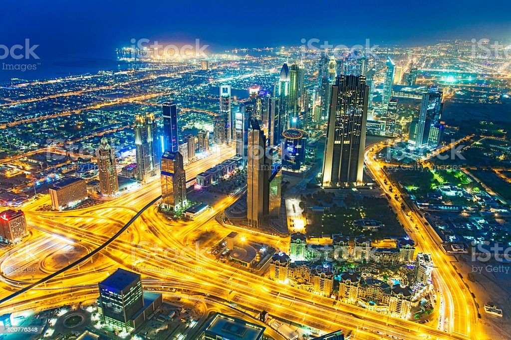 Sheikh Zayed Road Skyline of Dubai Financial District stock photo