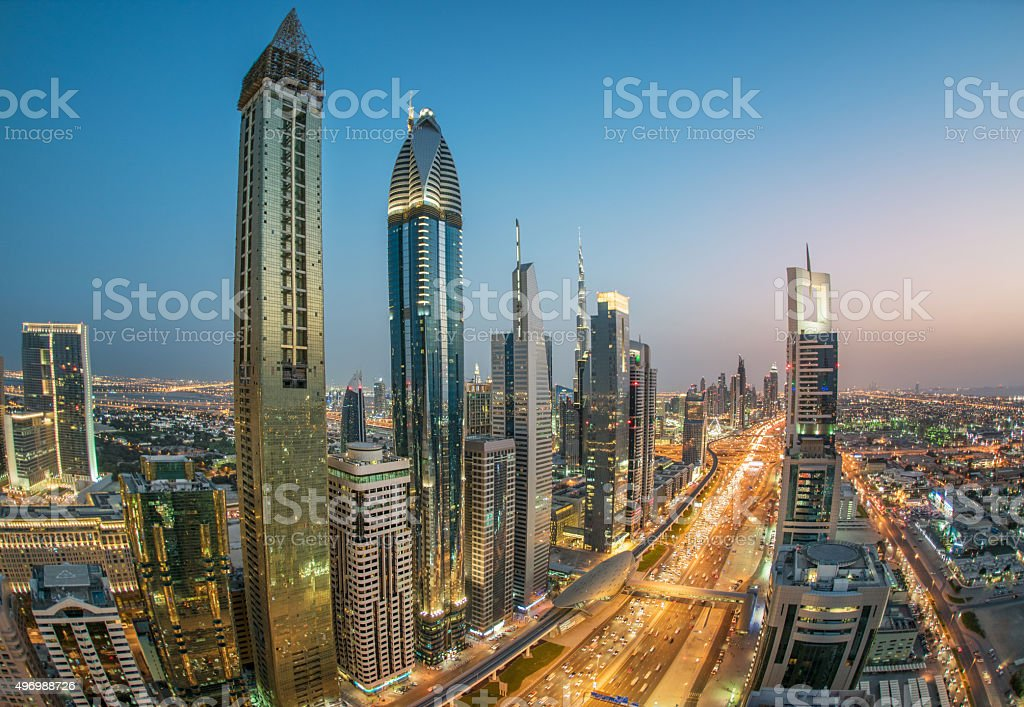 Sheikh Zayed Road with Dubai Skyline, UAE stock photo