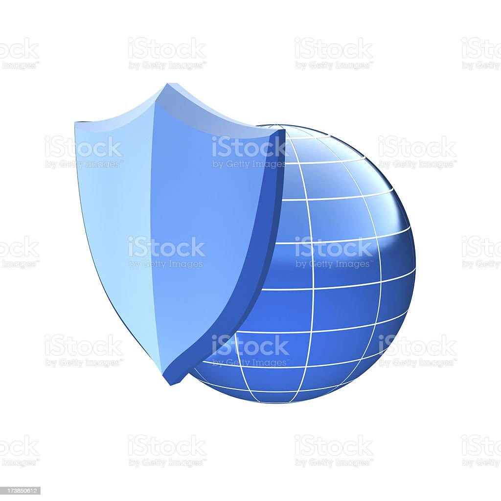 sheild and globe royalty-free stock photo