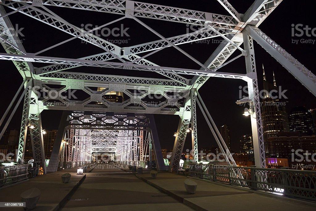 Shelby Avenue Bridge at night - Nashville stock photo