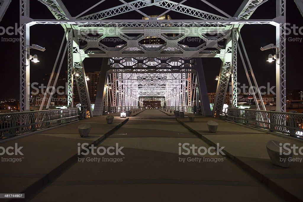 Shelby Avenue Bridge at night - Nashville Tennessee stock photo