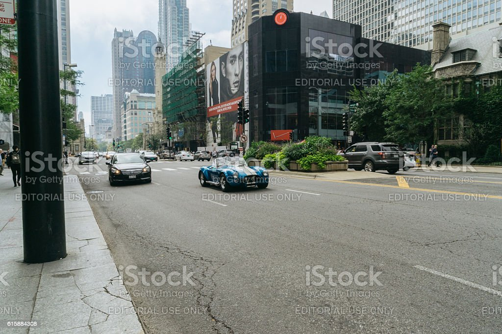Shelby Cobra racing on the street of Chicago stock photo