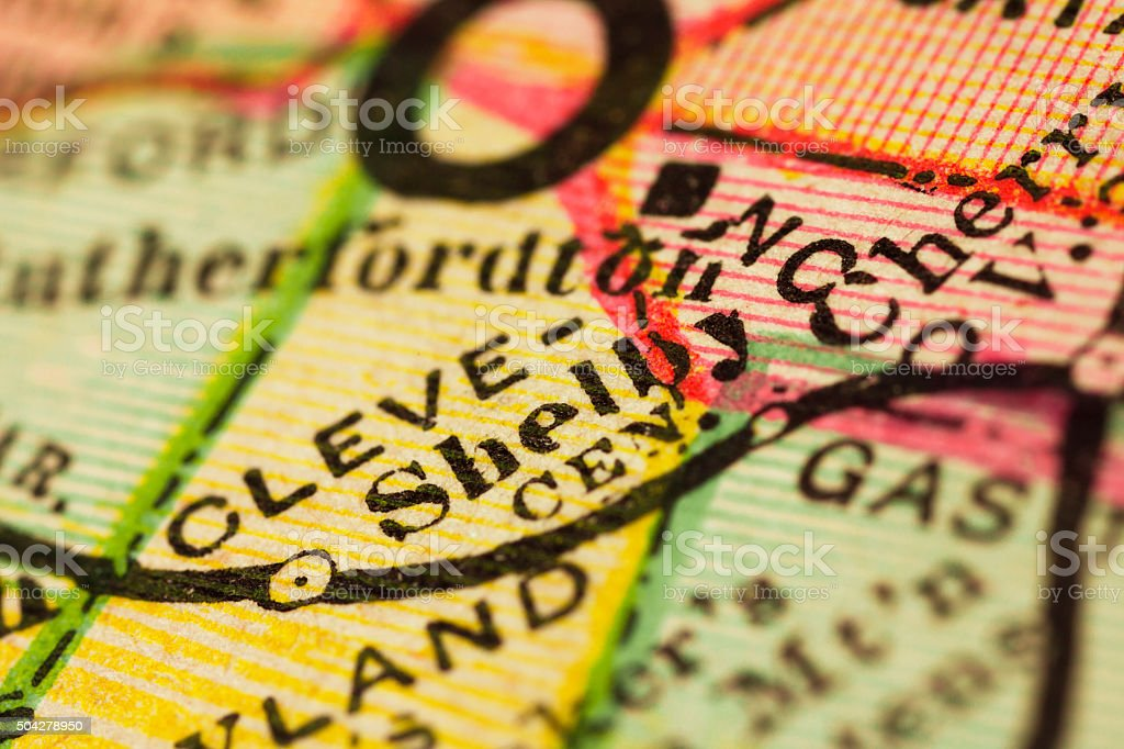 Shelby, North Carolina on an Antique map stock photo
