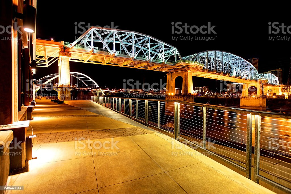 Shelby Street Bridge and the Gateway Bridge along the Nashville Riverfront stock photo