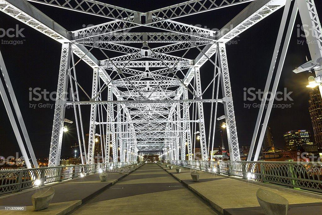 Shelby Street Bridge in Nashville, TN stock photo