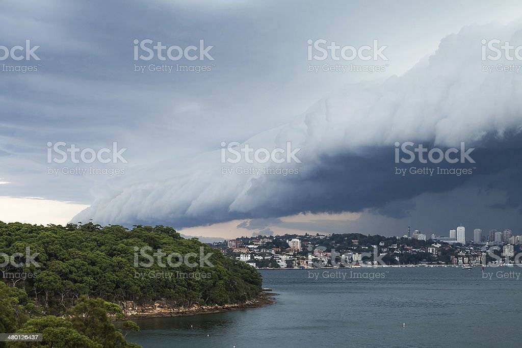 Shelf Cloud Front Rolling Over Sydney Harbour stock photo