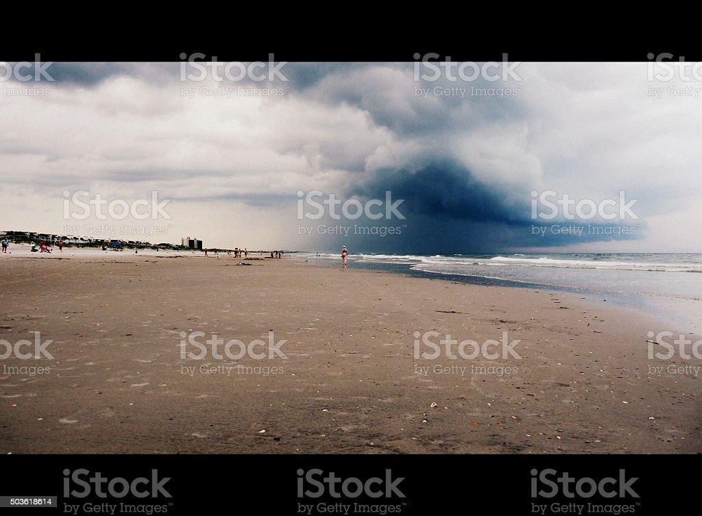 Shelf Cloud Over the Beach stock photo