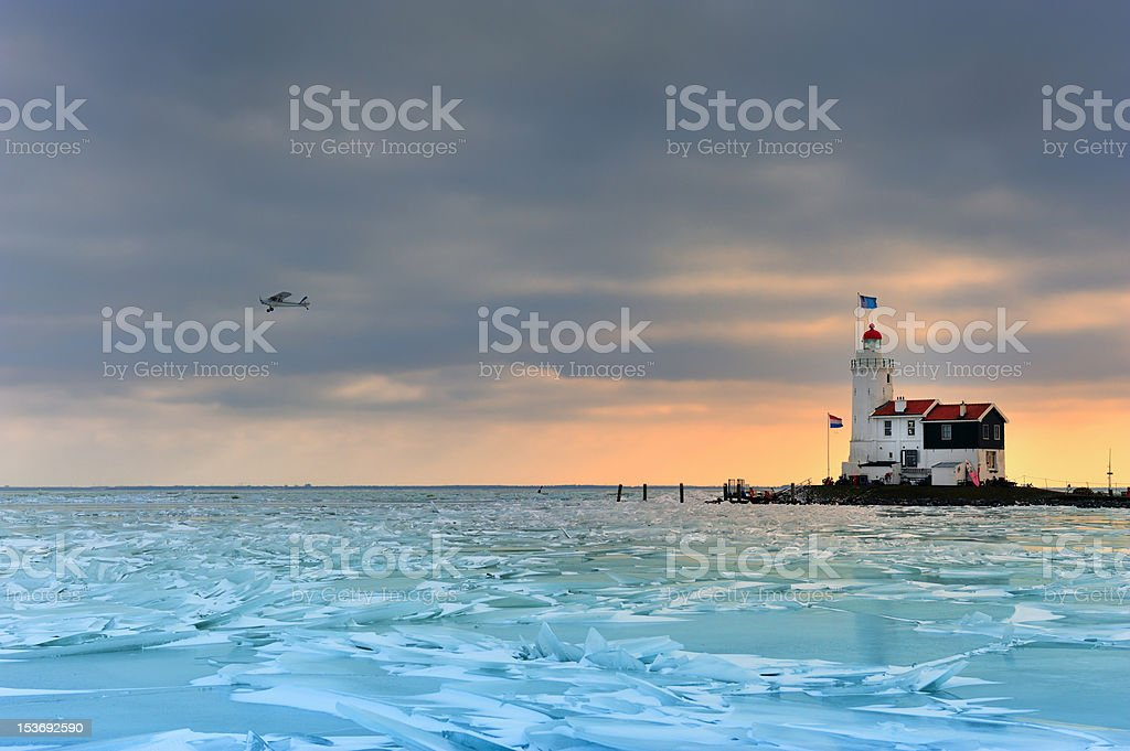 shelf ice and lighthouse in Marken royalty-free stock photo