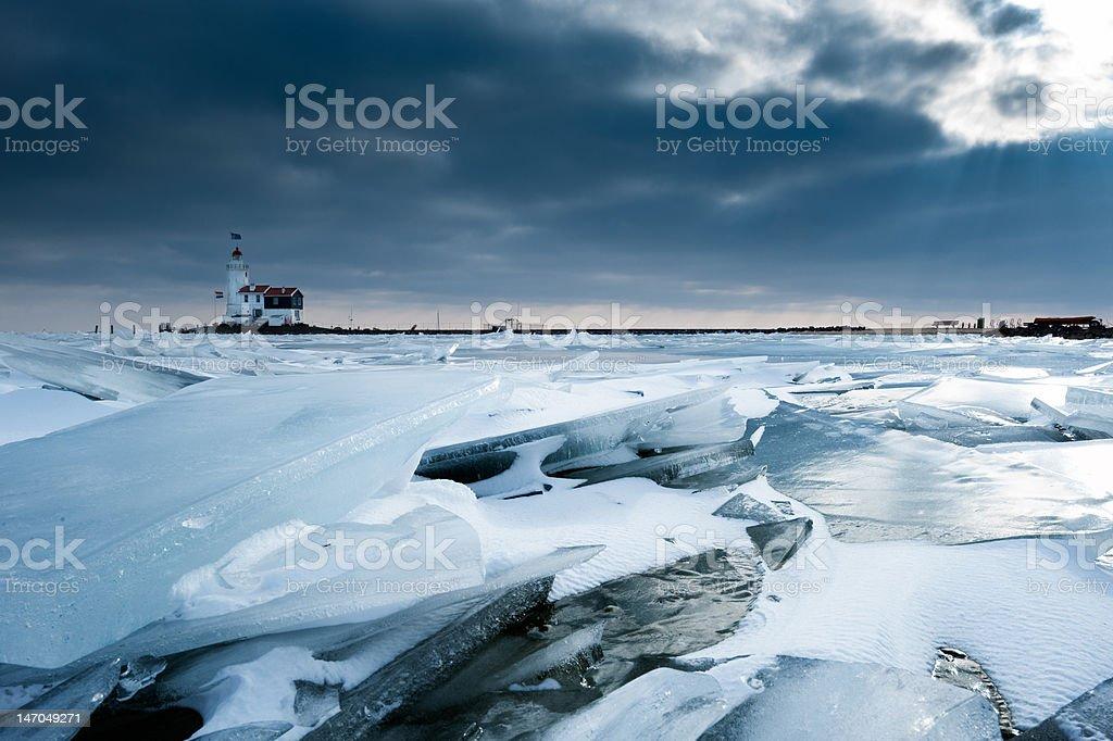 shelf ice and lighthouse royalty-free stock photo