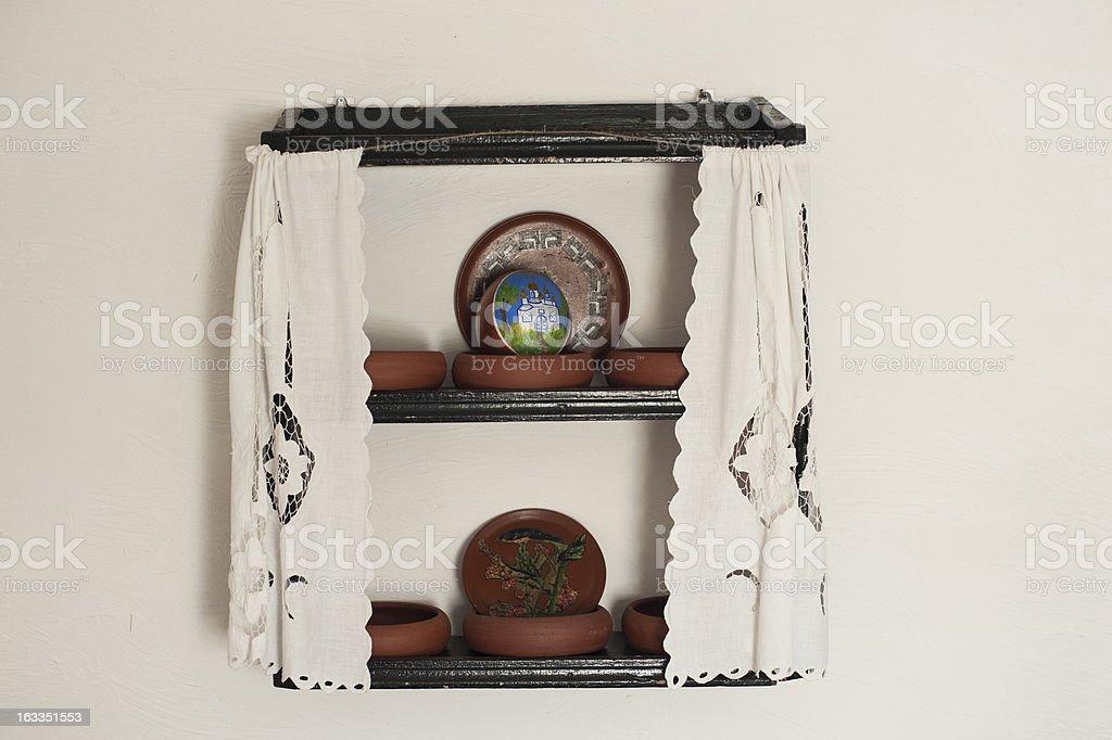 Shelf in a cossacks house stock photo
