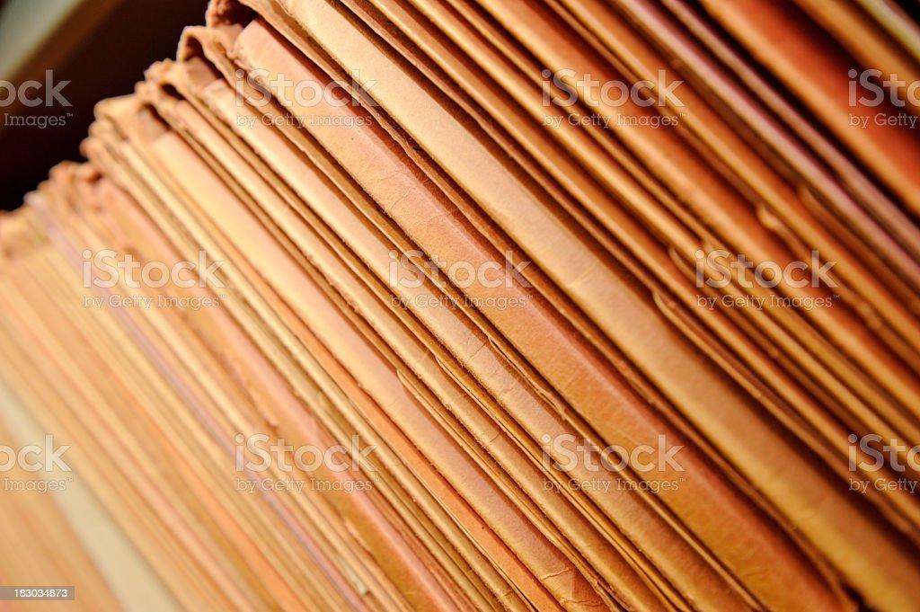 Shelf of files stock photo