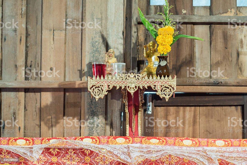 shelf of holy for Buddhism stock photo