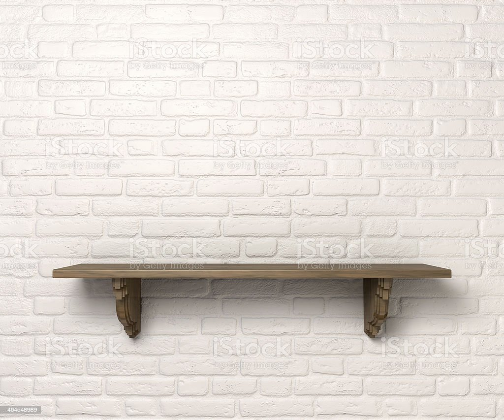 Shelf On A Wall Front stock photo