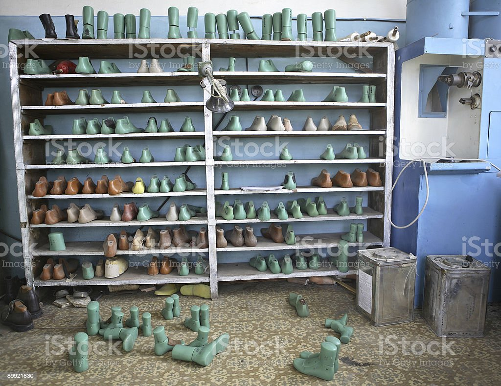Shelf with boot tree (orthopedic footwear) stock photo