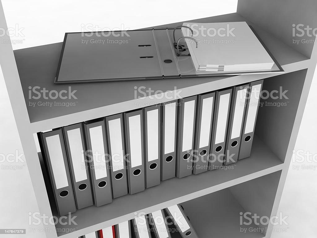 Shelf with folders royalty-free stock photo