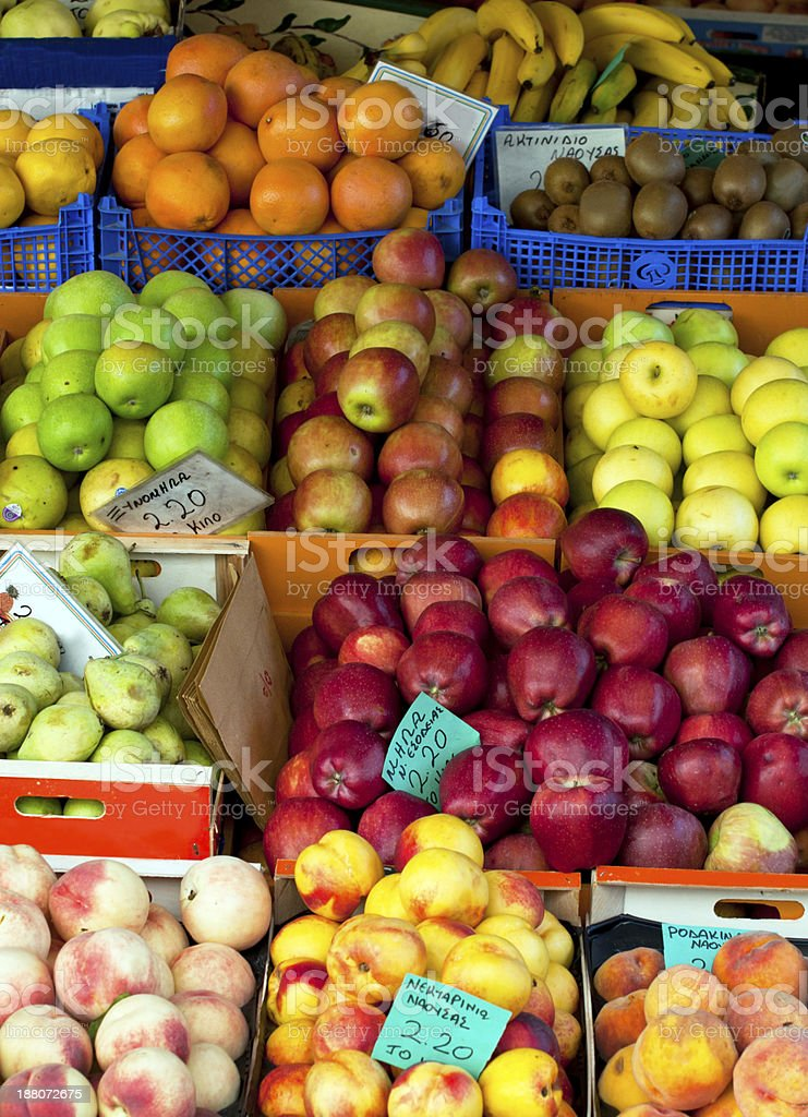 Shelf with fruits and vegetables royalty-free stock photo