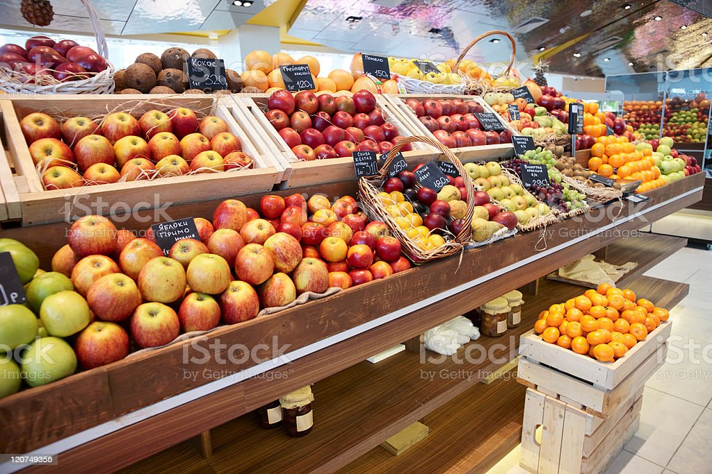 Shelf with fruits stock photo