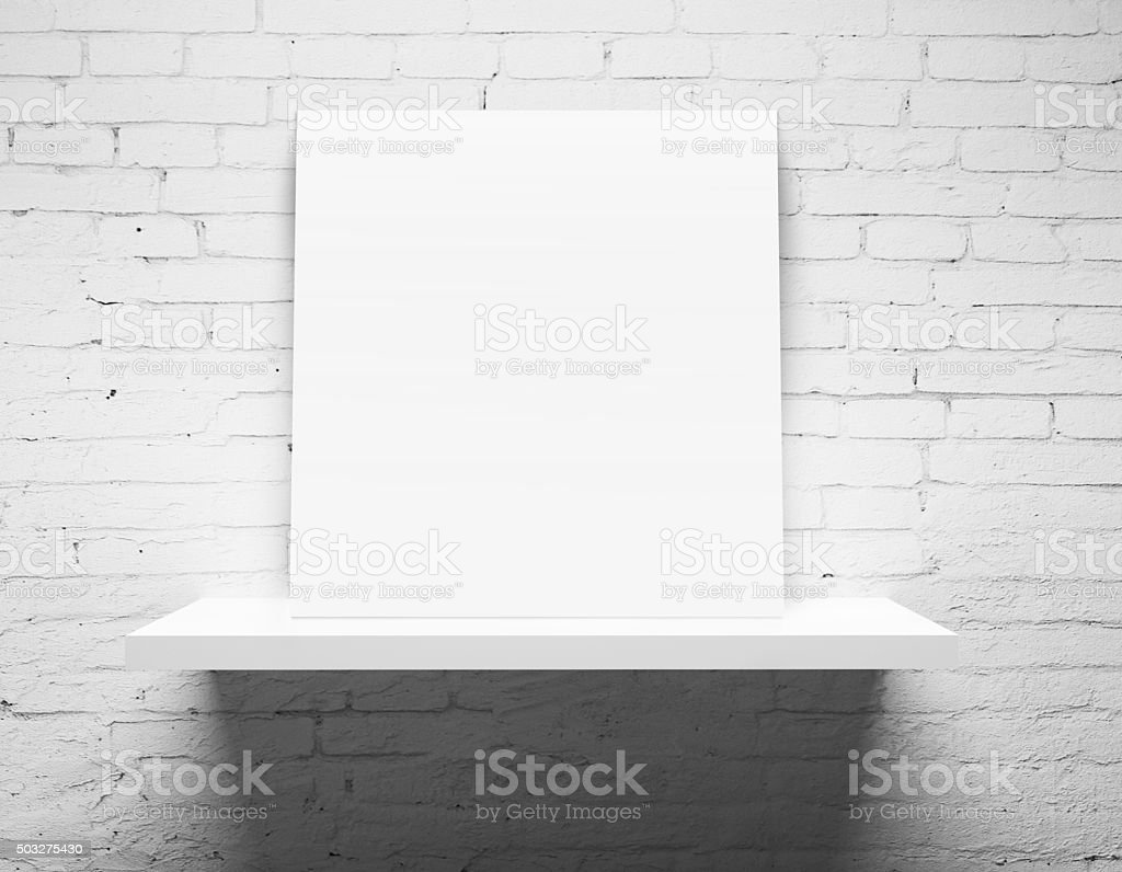 shelf with poster stock photo