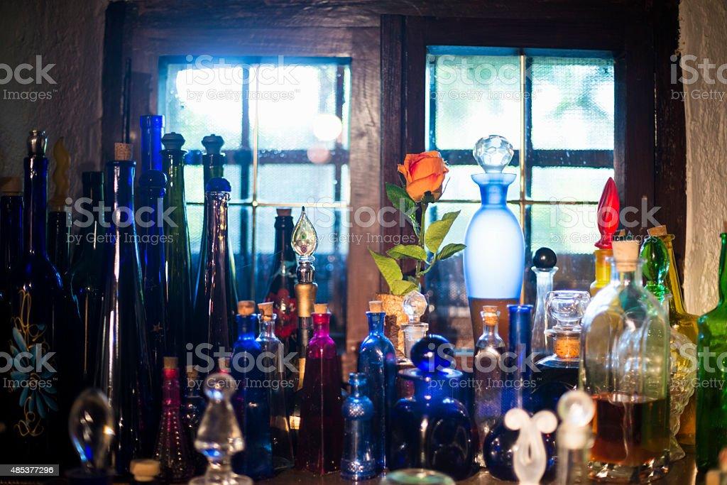 Shelf with Spirit Bottles in Old Cellar, Europe stock photo