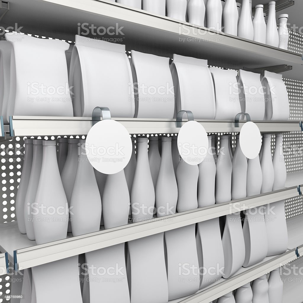 shelf with wobbler and products stock photo